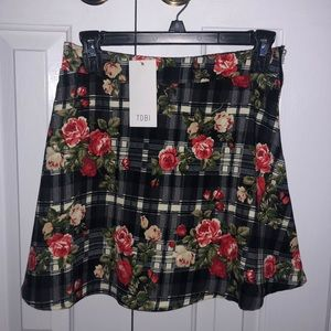 Navy Floral and Plaid Skirt